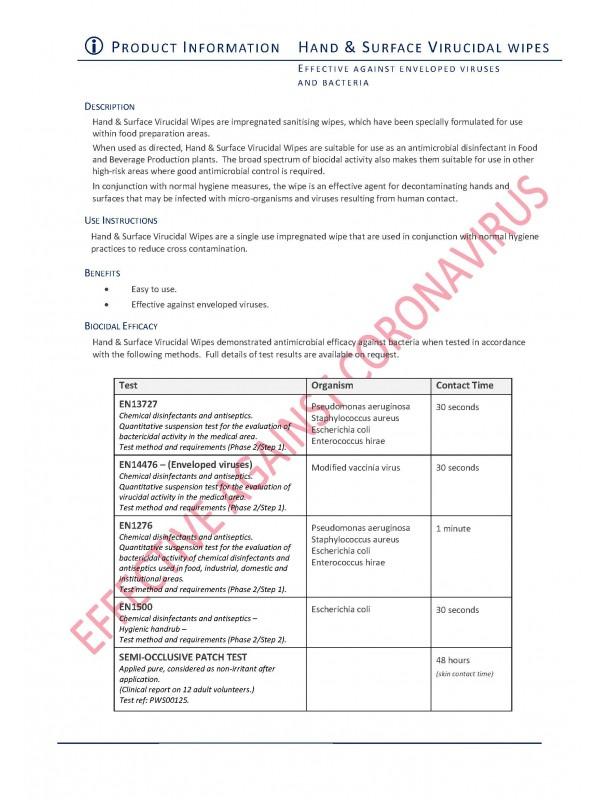 Holchem Disinfectant Hand Surface Wipes Coronavirus COVID 200 Tub