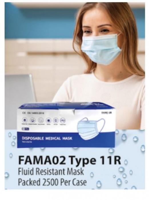 Disposable Face Masks - Fluid Resistant Type 11R - 2500 per box